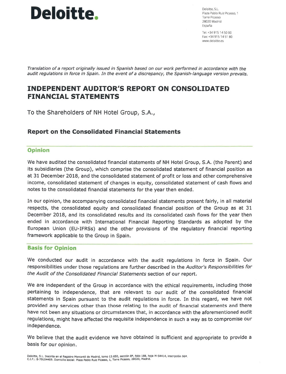 INDEPENDENT AUDITORS REPORT ON CONSOLIDATED FINANCIAL